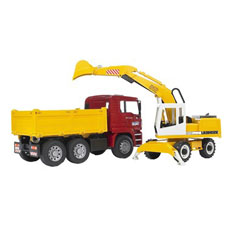 ماشين بازي برودر مدل Man Construction Truck With Excavator